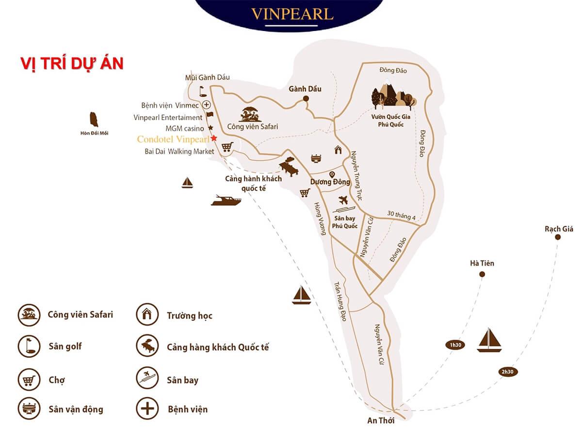 bản đồ condotel vinpearl phú quốc
